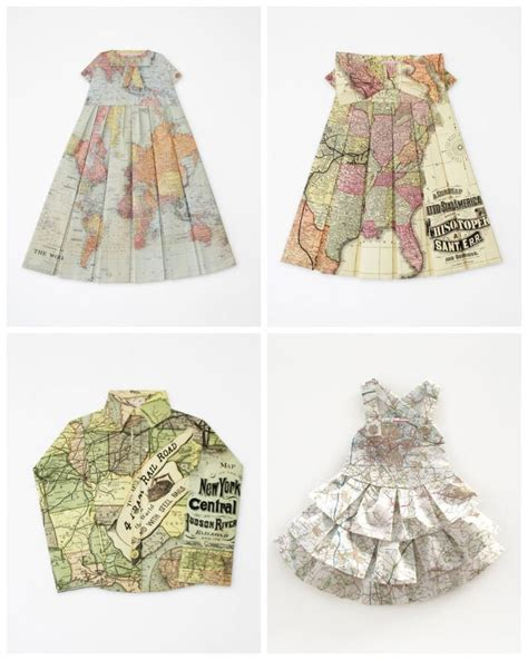 Elisabeth Lecourts Map Clothing by Dresses From Folded Maps By Elisabeth Lecourt Maps