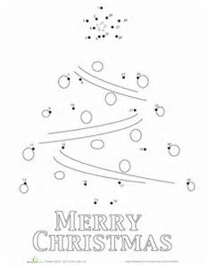 Kindergarten dot to dots worksheets christmas tree connect the dots