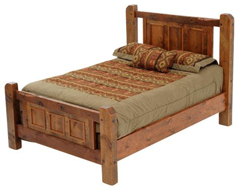 Rustic Platform Bed Barnwood Panel Style Bed Rustic Platform Beds By Woodland Creek Furniture