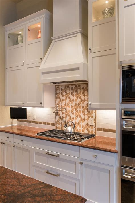 marvelous brown and minimalist shaker kitchen designs with white backsplash tile for minimalist and contemporary