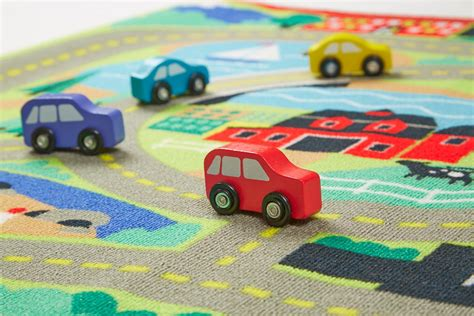 car activity rug doug the town road rug and car activity play set with 4 wooden cars