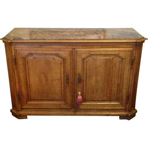 18thc french walnut sideboard server buffet with marble