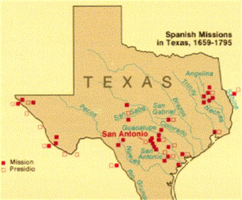 map of missions in texas uwec geog188 vogeler missions in texas