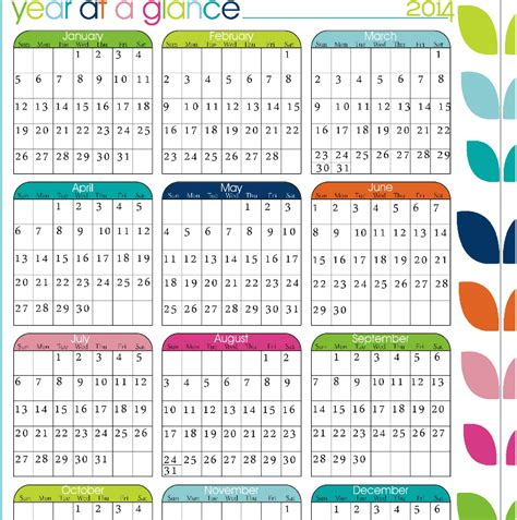 printable calendar 2016 year at a glance printable blank year at a glance calendar template 2016