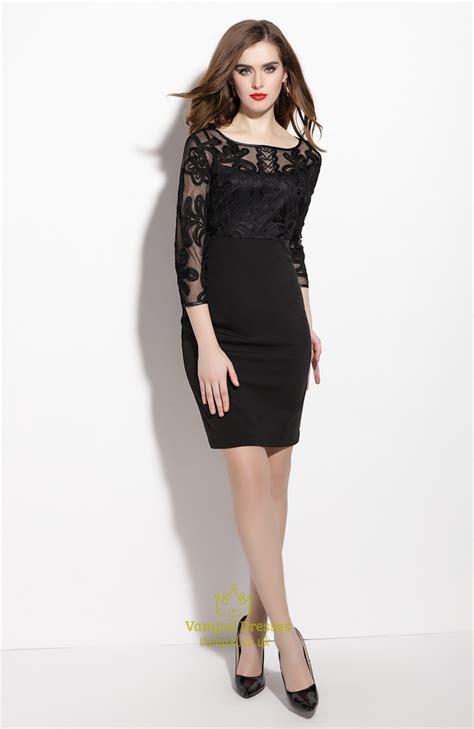Sleeve Sheer Dress black sheer illusion neckline sheath dress with 3 4 length