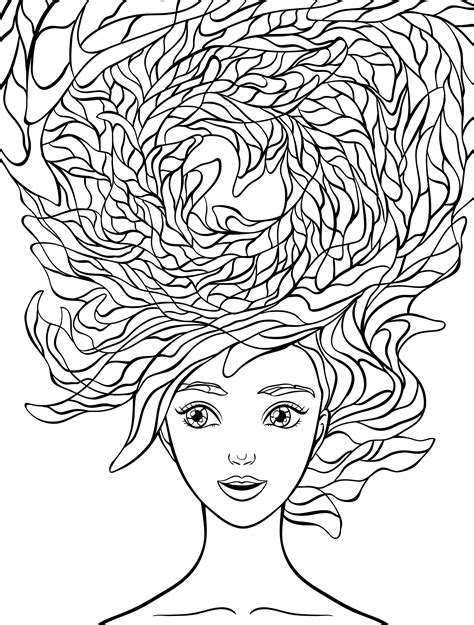 coloring pages hair adult coloring book i love my hair coloring pages
