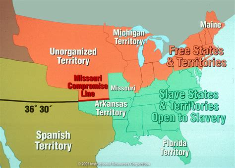 us map missouri compromise line in 1819 there were 11 free states and 11 states