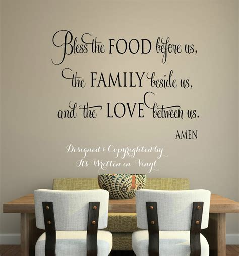 dining room wall quotes quot bless the food quot vinyl lettering wall decal words home
