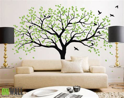 living room ideas with green tree wall mural wallpaper