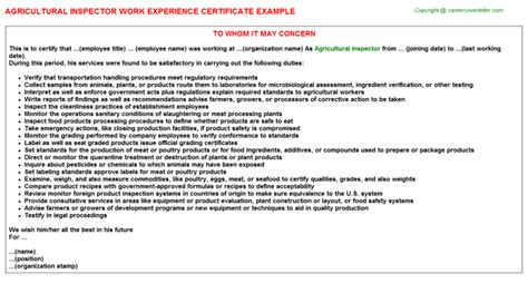 Agricultural Inspector Cover Letter by Agricultural Inspector Work Experience Letters Sles