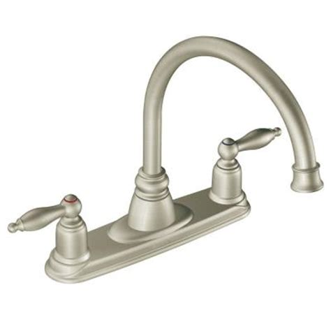 moen castleby 2 handle kitchen faucet in stainless steel