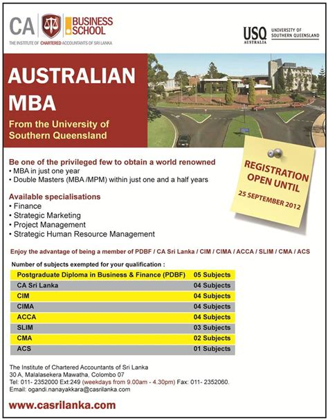 Mba Length Australia by Of Sothern Queensland Mba In Srilanka 171 Synergyy
