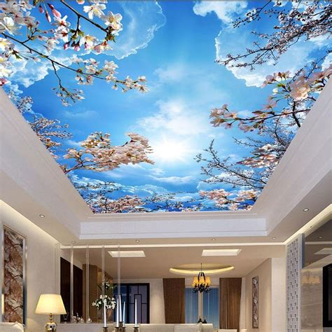 custom wallpaper sky clouds cherry blossoms ceiling mural
