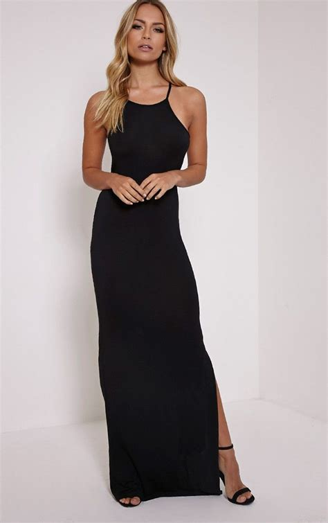 basic square black maxi dress fashion