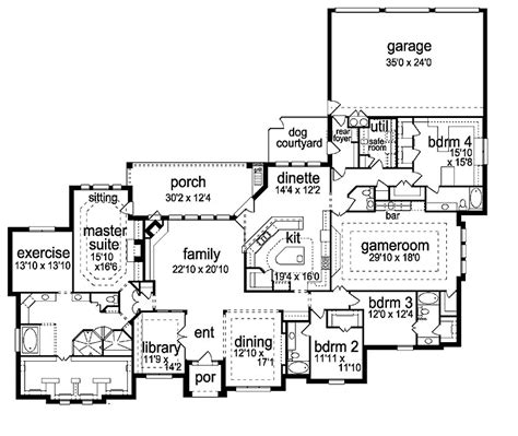 house plans with game room 4 bedroom one story house with safe room game room and a