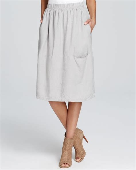 eileen fisher linen midi skirt in gray lyst
