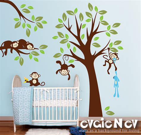jungle tree wall stickers monkeys everywhere wall decals jungle tree with monekys wall