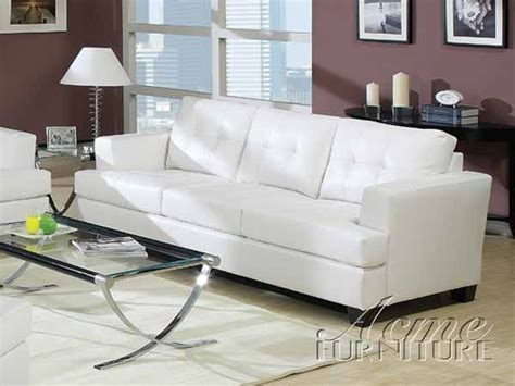 white leather sleeper sofa by acme 15062