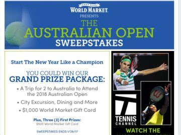 Open Sweepstakes - cost plus world market australian open sweepstakes