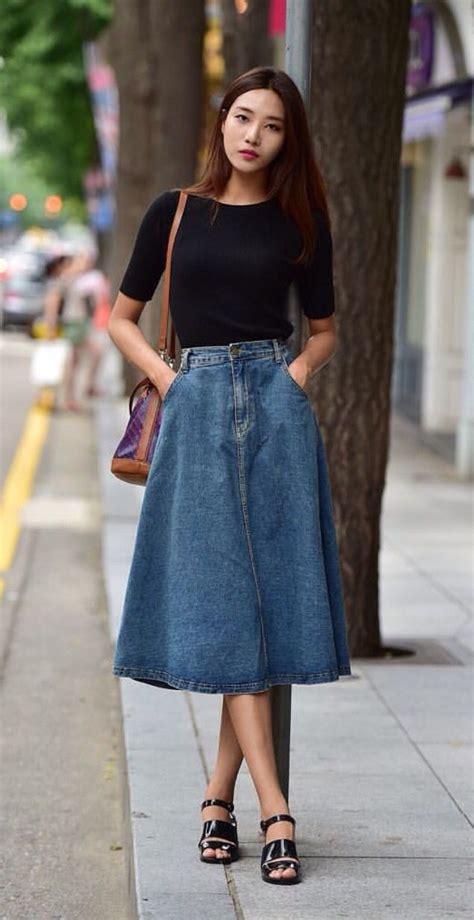 love  denim midi skirt fashion casual outfits