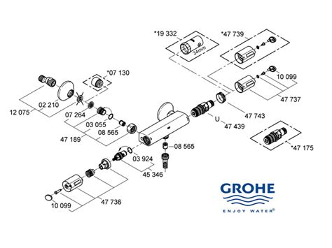 Grohe Grohtherm 1000 Thermostat Shower Mixer 34143000 grohe grohtherm auto 1000 shower spares and parts grohe