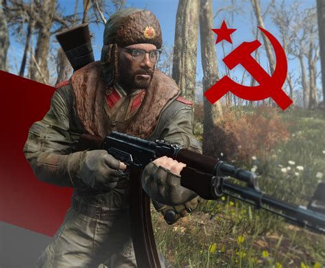 communist survivalist uniform and ushanka at fallout 4