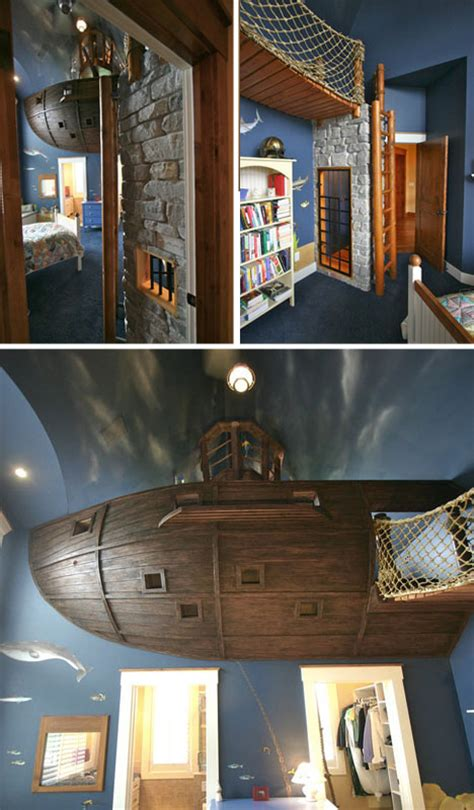 bed overboard bedroom features floating pirate ship