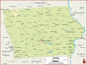 Map Of The State Of Iowa by Iowa Physical State Map