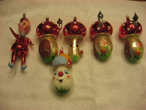 6 vintage mercury italian blown glass christmas ornaments