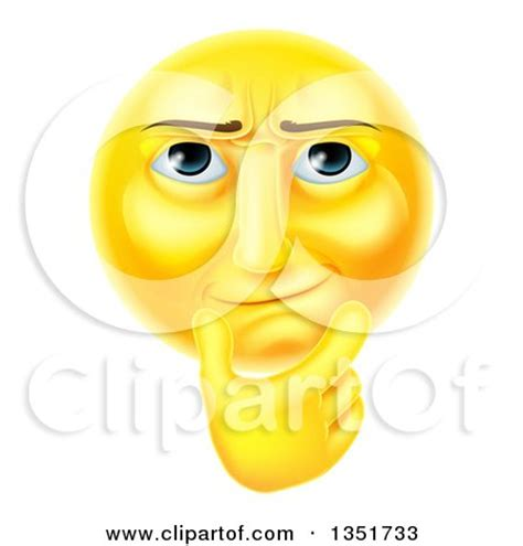 clipart of a 3d thinking yellow male smiley emoji emoticon