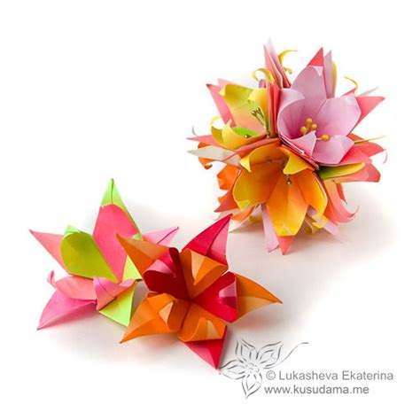 Fleur Origami - kusudama me modular origami fleur de lis unit