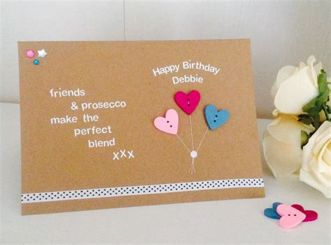 Happy Birthday Handmade Cards - friends prosecco quote handmade happy birthday card