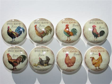 Chicken Cabinet Knobs by Rooster Chicken Farm Dresser Drawer Cabinet Knobs Set Of 8