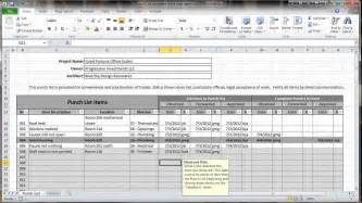 free punch list template excel 2010 construction punch list overview