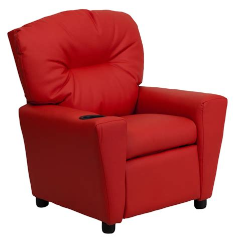 kids recliner with cup holder red vinyl kids recliner with cup holder from renegade bt