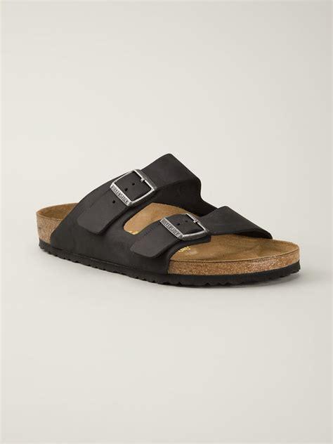 birkenstock sandals black birkenstock arizona leather sandals in black lyst