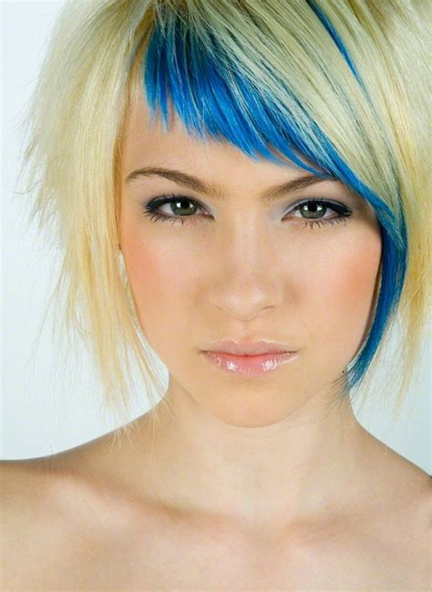 cute haircuts and color cute hairstyles for short hair with blue bangs and layers