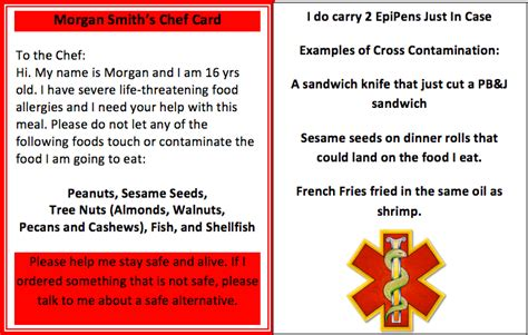 food allergy card template for children traveling and out with food allergy allergicchild
