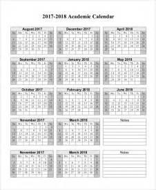 2017 And 2018 Calendar Printable Sle Printable Calendar 10 Exles In Word Excel Pdf