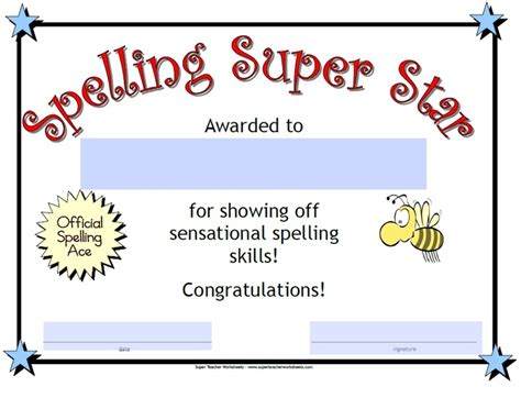 printable star awards check out our spelling super star award super teacher