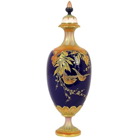 Royal Worcester Vases by Antique Royal Worcester Vase In Raised Gold With Lid At