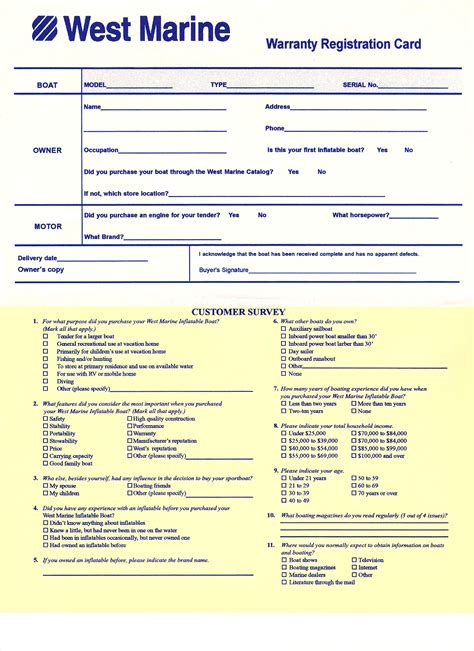 registration warranty card template free for recalls owners manuals west marine