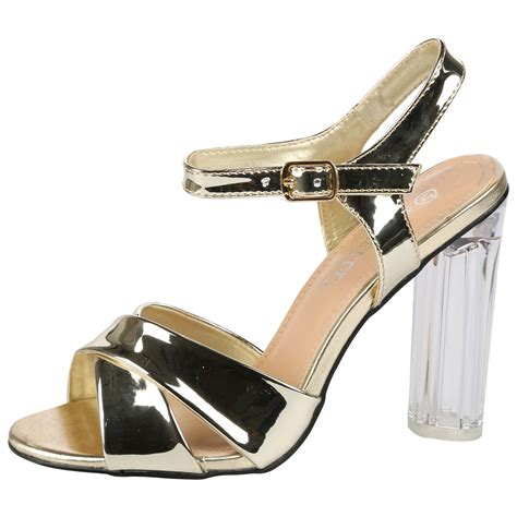 E Heels 958 1289 womens high clear heels ankle strappy open toe sandals shoes size ebay