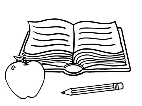 Dibujo De Libros Y Manzana Para Colorear Dibujos Net | colorea tus dibujos libro con manzana y l 225 piz para