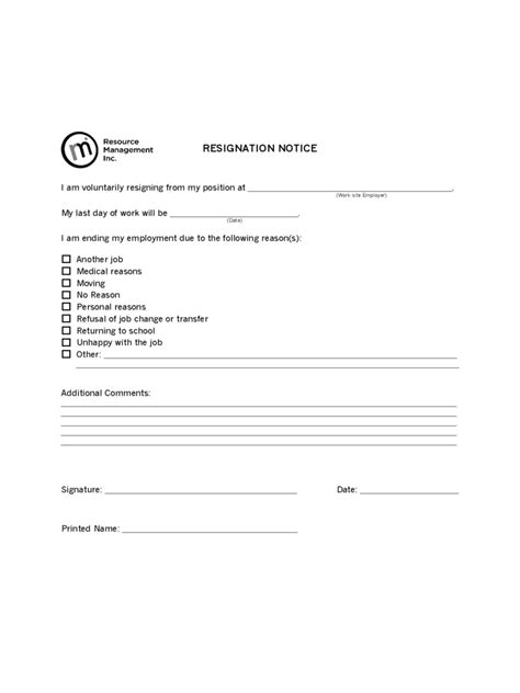 employee resignation form 2 free templates in pdf word