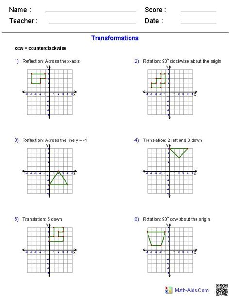Translating To Math Worksheet by 25 Best Ideas About Transformations Math On
