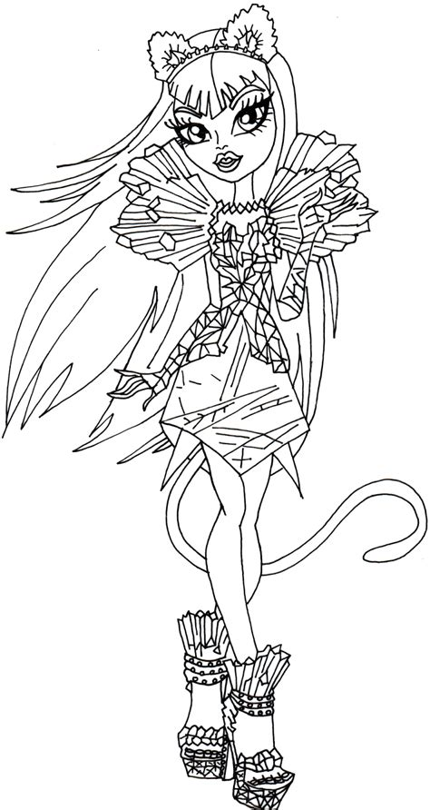 free printable monster high coloring pages catty noir boo