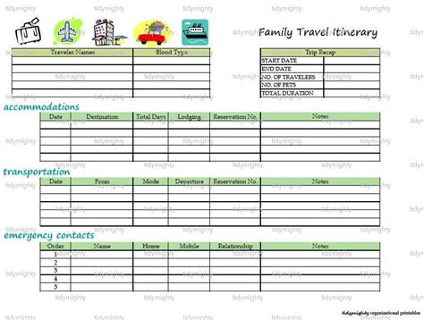 printable vacation planner template 8 best images of printable vacation itinerary free
