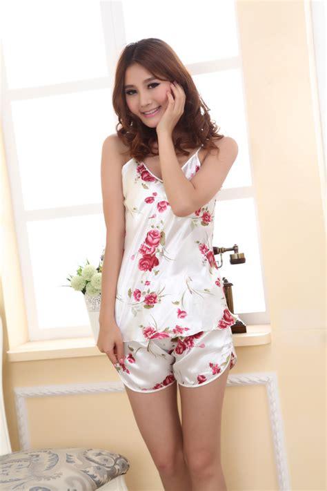 Pajamas Satin Silk Hotpant summer silk satin pajamas set sleeveless