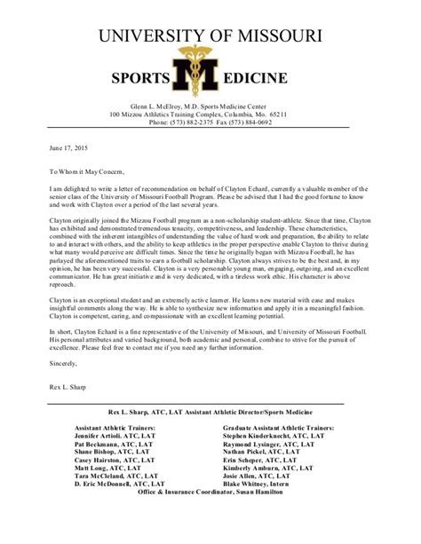 Character Reference Letter Sports Letter Of Recommendation